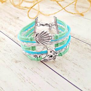 Dolphin Seashell Infinity Charm Bracelet, Beach Bracelet, Dolphin Gifts, Ocean