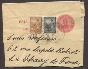 ARGENTINA 1900s THREE UPRATED POSTAL STATIONERY WRAPPERS TO ITALY/SWITZERLAND
