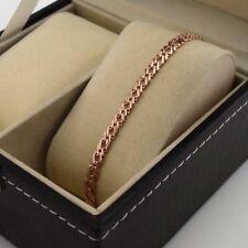 "18k Rose Gold Filled Charm Bracelet 7.6""Chain 5mm Link GF Womens Fashion Jewelry"