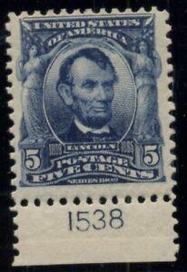 US #304, 5¢ Lincoln blue, Plate No. Single, og, NH, VF