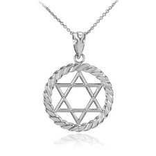 in Circle Rope Pendant Necklace Silver Jewish Star of David