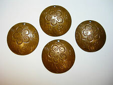 Vintage Patina Brass Art Deco Embossed Dapt Discs Earring Findings - 4