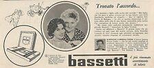 W1760 BASSETTI - Jole Ferrio di Bologna - Pubblicità del 1958 - Vintage advert