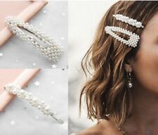NEW Vintage Pearl Hair Clips / Hair Pins / White Pearls with GOLD Clips