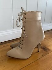 BRAND NEW Apricot / Beige Lace Up Pointed Toe Mid Calf Ankle Boots Heels Size 9