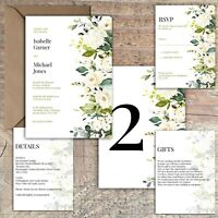 Personalised Luxury Rustic Wedding Invitations IVORY ROSE & GREEN PK 10
