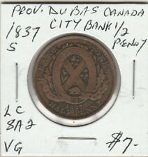 1837 Province Du Bas Canada City Bank Half Penny LC-8A2 #1