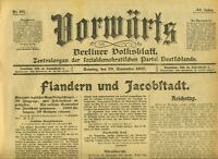 1917 VORWÄRTS Flandern und Jakobstadt Aufruf an die große Berliner revolferung