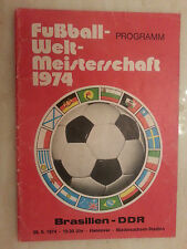1974 World Cup Programme: BRAZIL v EAST GERMANY- 26th June (very rare)