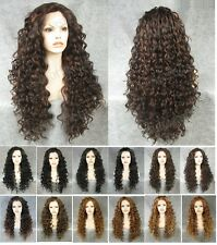 """Front lace 26"""" long wavy curly brown black synthetic fashion wig.TOP QUALITY"""