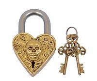 Brass Beautiful Padlocks with Two Keys Man Skull Engraved Antique Finished Lock