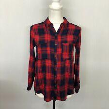 Charlotte Russe Women Blouse Button Down Shirt Top Size XS X-Small Plaid A158 -5