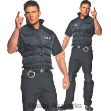 SWAT Police Plus Adult Mens Special Forces Fancy Dress up Halloween Costume XXL
