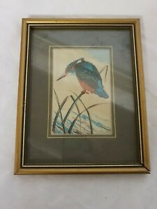 Woven Picture From Cash's Collector Range 'Kingfisher' '60s 19x15cm Coventry P13