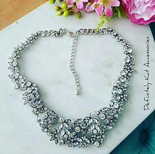 Stunning white crystal bling vintage flower cluster statement necklace