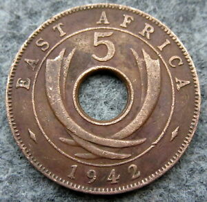 EAST AFRICA GEORGE VI 1942 5 CENTS COLONIAL