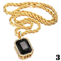 """Men Gold Plated Iced Out Octagon Ruby Pendant With 3mm 24""""Rope Chain Necklace"""