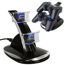 LED Dual USB Charger Docking Charging Stand For Playstation 3 PS3 Controller