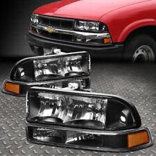 For 98-04 Chevy S10 Pickup Blazer Black/Amber Corner Headlight Bumper Head Lamp