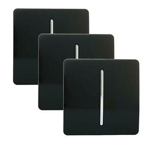 Trendi 1 Gang 2 Way Modern Glossy 10 Amp Light Switch Piano Black (3 Pack)
