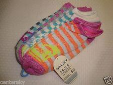 NEW ROXY WOMEN'S/JUNIOR'S 6 PAIR ANKLE SOCKS MULTI-COLOR STRIPE SOCK SIZE 9-11