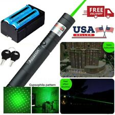 990Mile 303 Green Laser Pen Pointer 532nm 2in1 Star Cap Lazer 18650 Battery+Char
