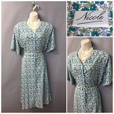 Nicole Green Floral Cotton Retro Dress UK 26 EUR 52