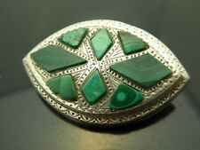 Gemstone Engraved Sterling Brooch Vintage Antique Scottish Green Malachite