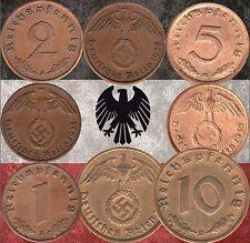 Set of  Germany 1, 2, 5 & 10 Reichspfennig coins 1937-1939 WWII  (#417)