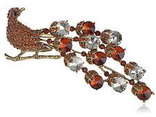Hot Exotic Bronze Smoked Topaz Crystal Rhinestone Peacock Bird Tail Brooch Pins