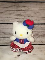 """RARE Sanrio HELLO KITTY Red Tulip Bow, 8"""" Plush MASCOT Doll NEW with TAGS"""