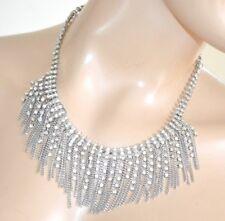 COLLAR mujer plata gargantilla alambres elegante bisutería strass ceremonia F90
