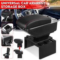 Universal Car Center Armrest Storage Box Organizer Cushion Pad W/ USB Chargeable