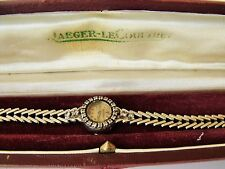 LADIES VINTAGE 18CT WHITE GOLD & DIAMOND REAR WINDING JAEGER LeCOULTRE + BOX 21g