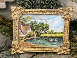 Vintage Miniature Dollhouse Artisan J. Turner Real Oil Painting Ormolu Frame
