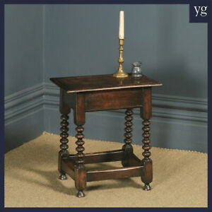 Antique English 17th Style Oak Joint Stool / Side / Lamp Table (Circa 1910)