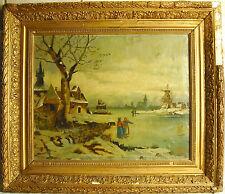 Moulin, lac gelé et village Huile sur toile Paint peinture Holland c 1900 40 cm