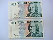 More details for 2 x 100 vintage kroner swedish note consecutive numbers carl von linnet