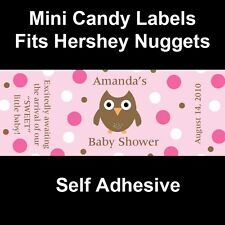 120 Personalized Baby Shower Mini Candy Bar Labels - Baby Owl - PINK