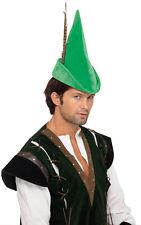 ADULT GREEN RENAISSANCE NOTTINGHAM ROBIN HOOD PETER PAN ELF COSTUMES HAT FEATHER