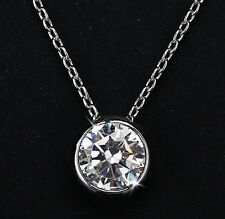 2Ct Platinum Plated Silver Solitaire CZ Bezel Set Pendant Necklace 8mm N32