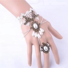 Vintage Damen Handmade Retro Gothic Lace Perlen Finger Ring Armband Weiß