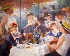 Renoir Luncheon Of The Boating Party French Painting 8x10 Real Canvas Art Print