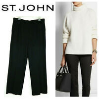 St John Marie Gray Santana Knit Crop Pants 10 Medium Black Stretch Pull On   m