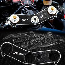 "Handle Bar Yoke Cover Black/Chrome+6"" Logo+Emblem Sticker for 06-16 YZF R6 YZFR6"