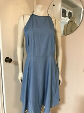 NWT Lucy Paris Lt Blue High Neck Studded Strap T-Back Knee Length Flared Dress L