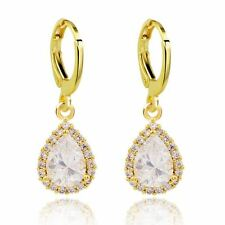 Bridal Wedding Gold with Crystal White Zircons Teardrop Hoops Drop Earrings E800