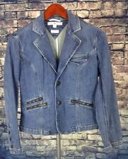 TOMMY HILFIGER STRETCH DENIM WASHED LONG SLEEVE JACKET WOMENS 6 SMALL BUTTON UP