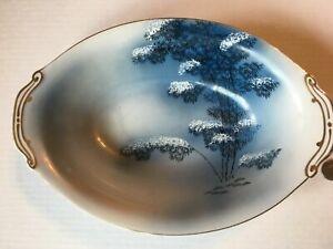 Vintage Meijyo Kutani Japan Blue Bamboo Trees Rare Oval Serving Bowl  SKU 056-04