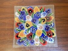 """Fused Art Glass Multi-colored Floral 9.75"""" Square Plate/Platter, Peggy Karr?"""